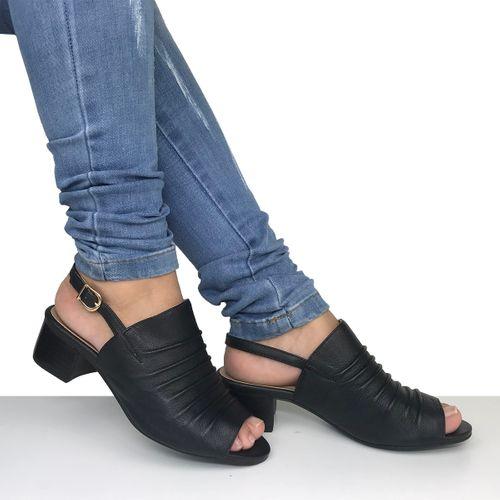 Sandália Salto Baixo em couro Dina Mirtz