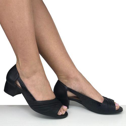 Sapato Peep Toe Preto Salto Baixo Dina Mirtz
