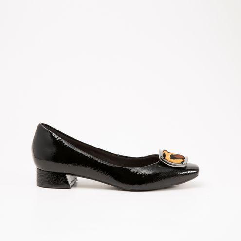 Sapato Invoice Preto com Animal Print
