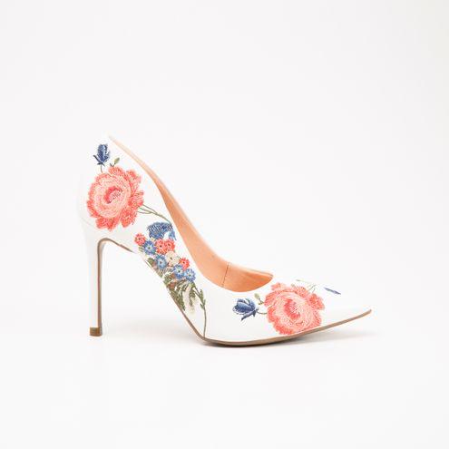 Scarpin Invoice Branco Floral