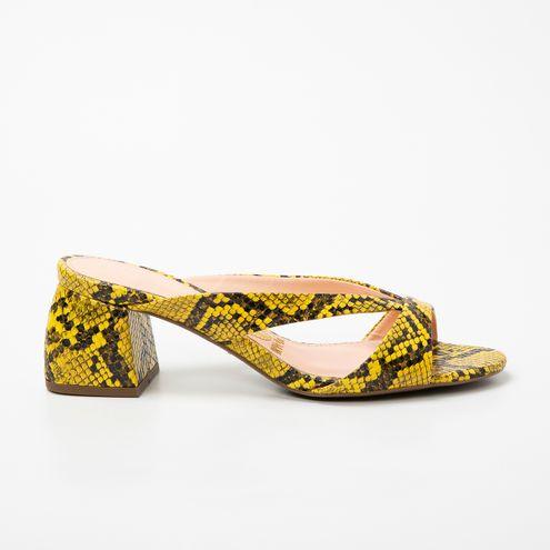 Tamanco Block Heel Invoice Cobra Amarelo
