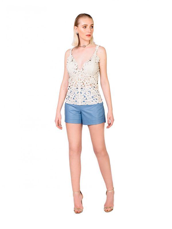 Blusa Cropped Com Alça Ajustável E Laser Poppy. Cor Off White