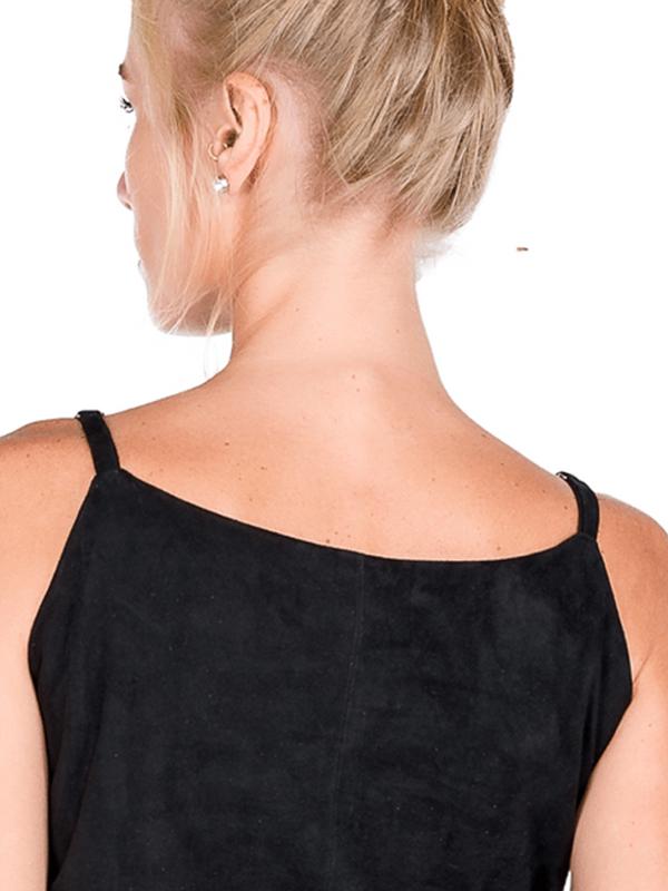 Blusa de Alças Reguláveis com Decote em V feita em Chamois - Liziane Richter