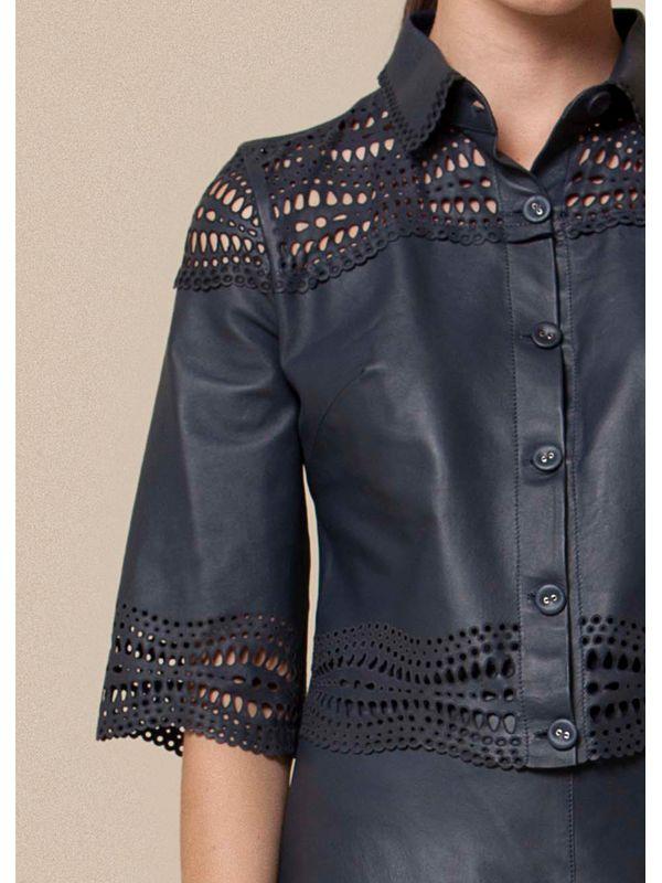 Blusa Estilo Camiseta Com Laser Geométrico - Liziane Richter Couros