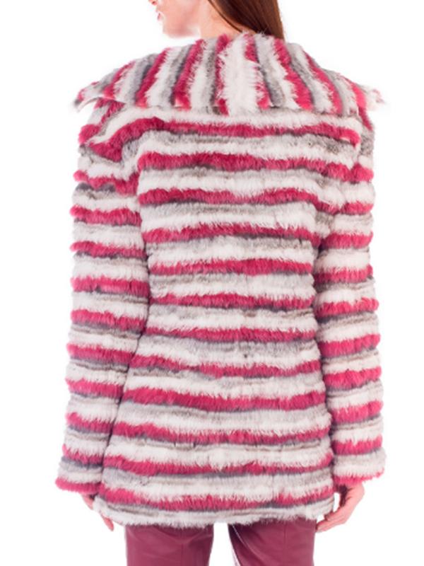 Casaco de lã e pele de coelho colorido