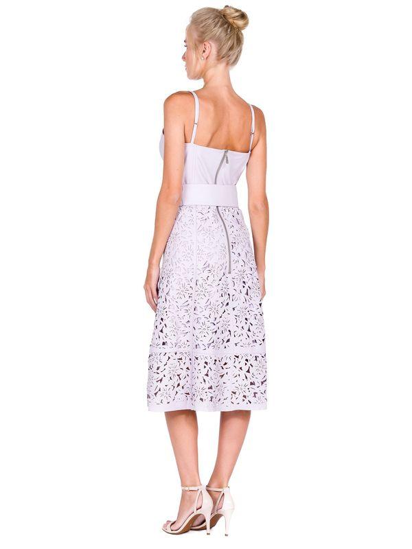Vestido de Alça com Corte à Laser Floral - Liziane Richter