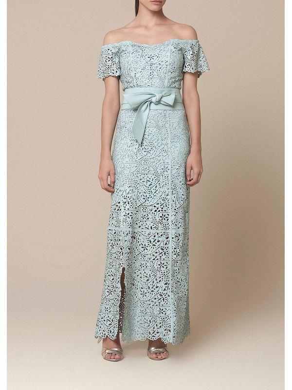 Vestido Todo em Laser Floral com Fenda na Barra - Liziane Richter Couros