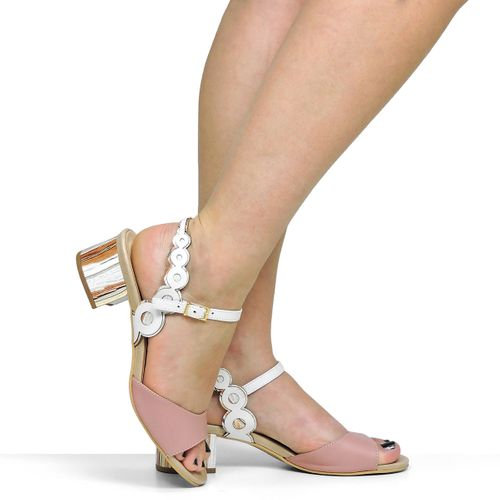Sandália Salto Baixo Círculos Dina Mirtz