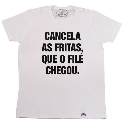 Camiseta Cancela as fritas, que o filé chegou