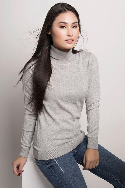 Suéter Feminino Algodão Peruano Gola Alta (Ms008)