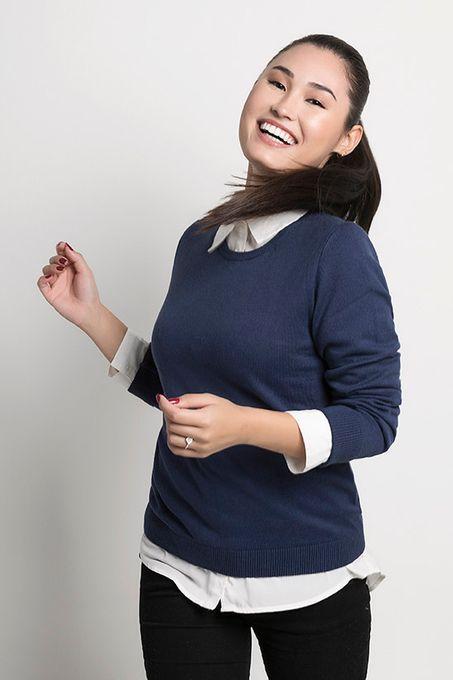 Suéter Feminino Algodão Peruano Gola Redonda (Ms004)