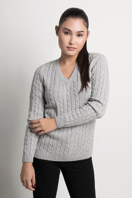 Suéter Feminino de Tranças Algodão Peruano Gola V (Ms005)