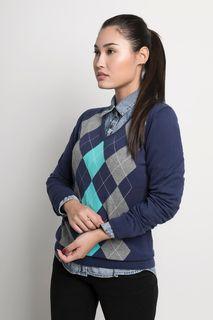 Suéter Feminino Xadrez Algodão Peruano Gola V (Ms017)
