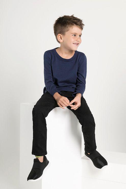 Suéter Infantil Algodão Peruano Gola V (Ms043)