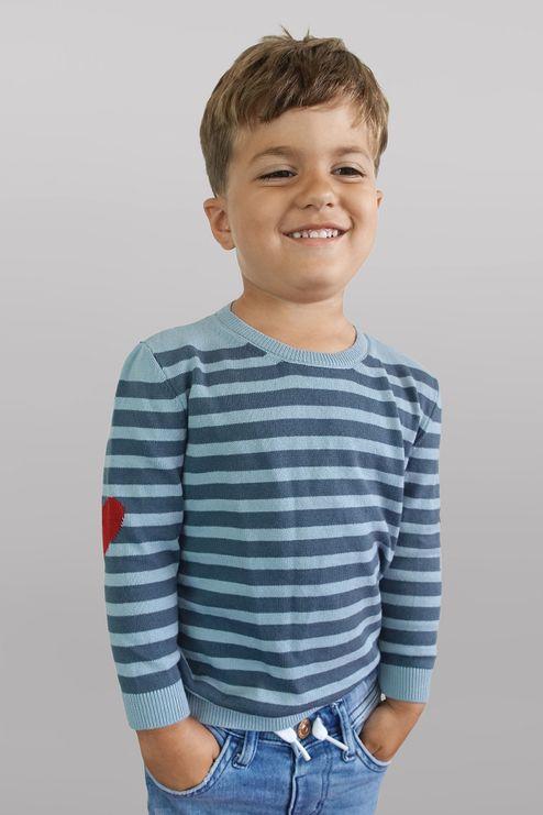 Suéter Infantil Listrado Coração (Ms045)