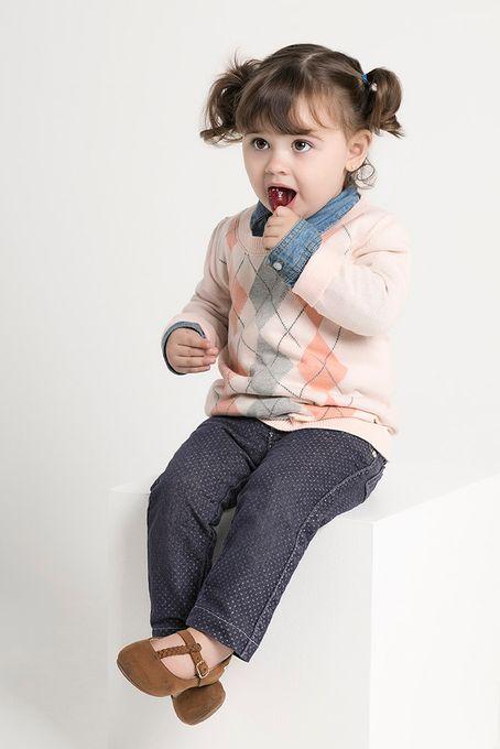 Suéter Infantil Xadrez Algodão Peruano Gola Redonda (Ms044)