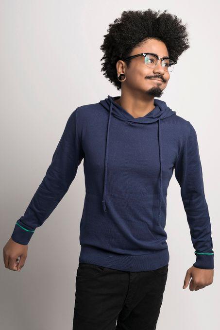 Suéter Masculino Algodão Peruano Capuz (Ms047)