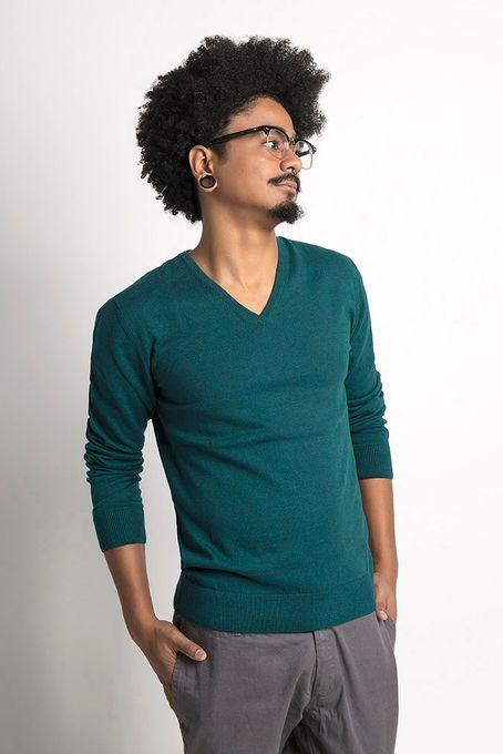 Suéter Masculino Algodão Peruano Gola V (Ms002)