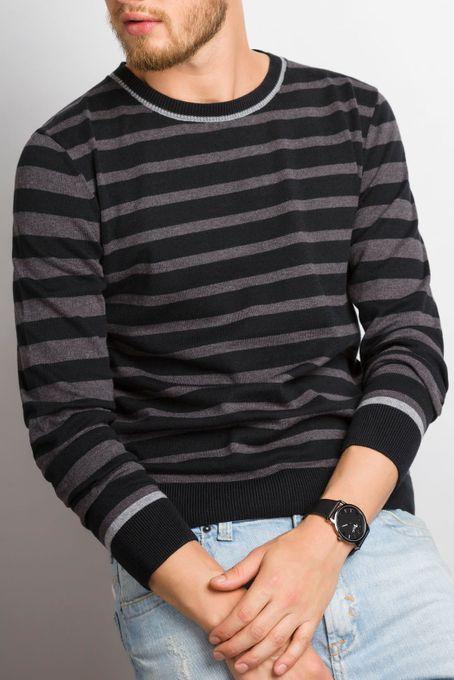 Suéter Masculino Listrado Algodão Peruano Gola Redonda (Ms009)