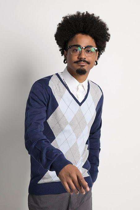 Suéter Masculino Xadrez Algodão Peruano Gola V (Ms003)