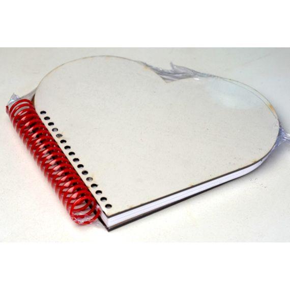 Agenda - Capa MDF - Formato Coração - Espiral Vermelho