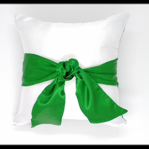 Almofada Cetim Verde com Laço - 30cm x 30cm (Capa + Enchimento)