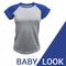 Baby Look raglan cinza mescla Azul royal