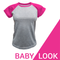 Baby look raglan cinza mescla - Rosa pink