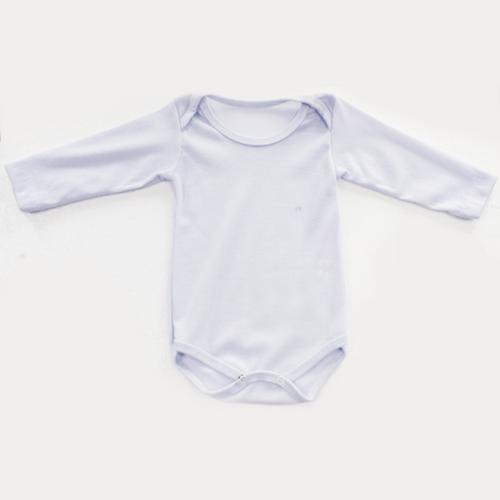Body CANELADO Bebê Manga Longa, Branco - para sublimação