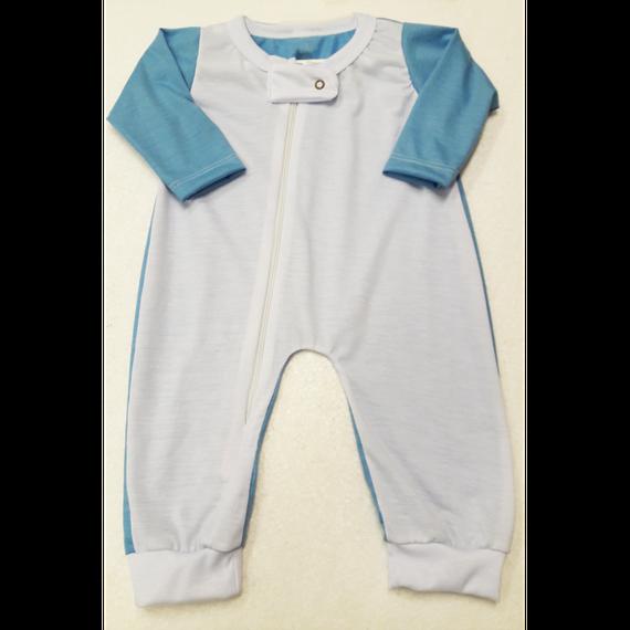 Body Macacão Raglan - Azul Bebê - COM ZIPER NA FRENTE