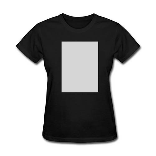Camiseta BABY LOOK Poliéster Preta c/ tarja Branca - NOVIDADE