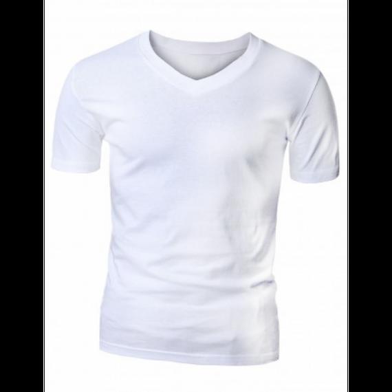 Camiseta em Gola V para Sublimação - Tecido Branco