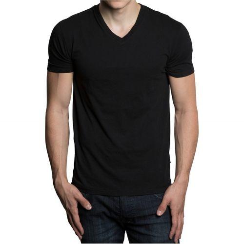 Camiseta em Gola V - Preta