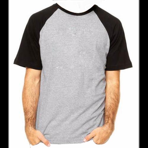 Camiseta RAGLAN CINZA MESCLA - Manga Curta COR PRETA Adulto para Sublimar