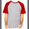 Camiseta RAGLAN CINZA MESCLA - Manga Curta COR VERMELHA