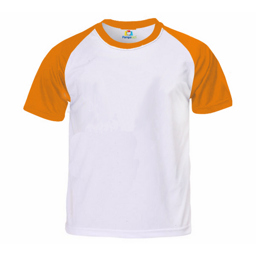 Camiseta RAGLAN LARANJA Manga Curta Adulto para Sublimar