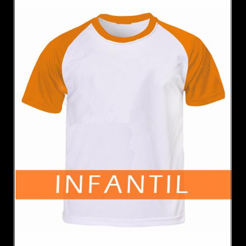 Camiseta RAGLAN LARANJA Manga Curta Infantil para Sublimar