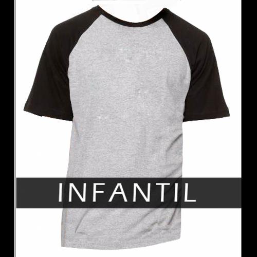 Camiseta RAGLAN MESCLA - INFANTIL - MANGA PRETA