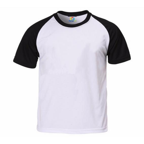 Camiseta RAGLAN PRETA Manga Curta Adulto para Sublimar
