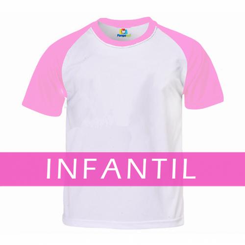 Camiseta RAGLAN ROSA CLARO Manga Curta Infantil para Sublimar