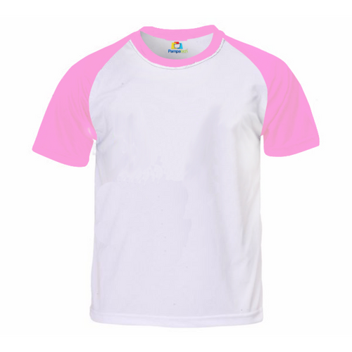 Camiseta RAGLAN ROSA Manga Curta Adulto para Sublimar