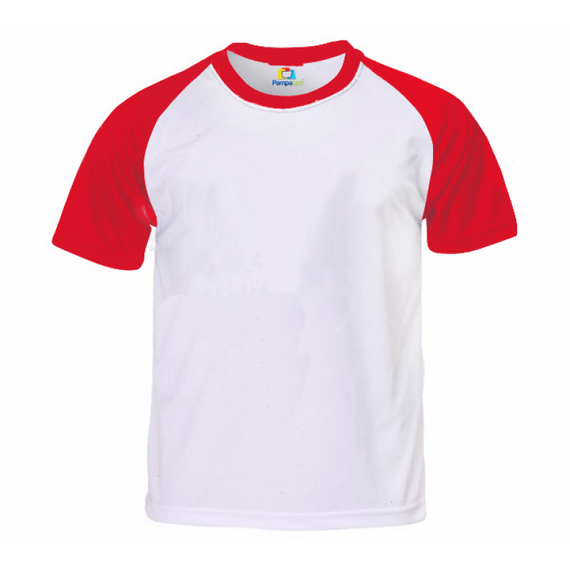 Camiseta RAGLAN VERMELHA Manga Curta Adulto para Sublimar
