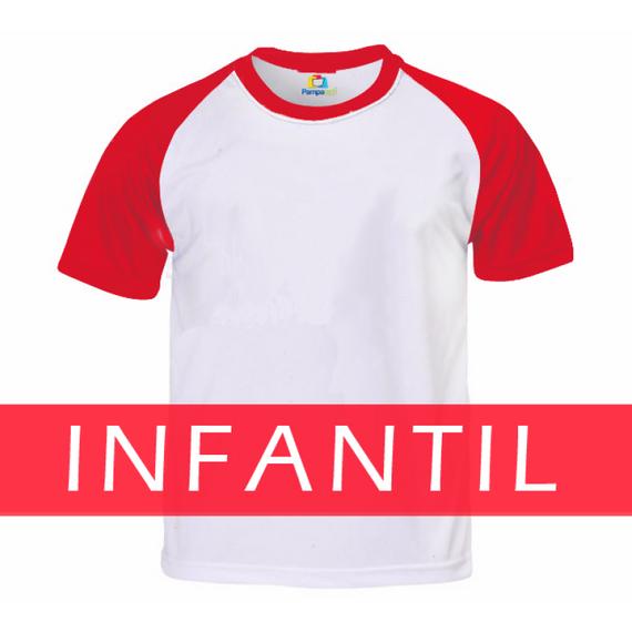Camiseta RAGLAN VERMELHA Manga Curta Infantil para Sublimar