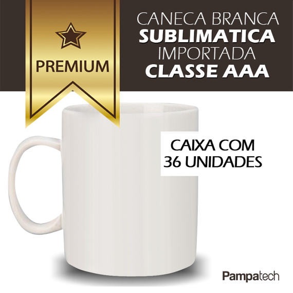 Caneca Branca para Sublimação - CAIXA 36 unidades - PREMIUM - MECOLOUR