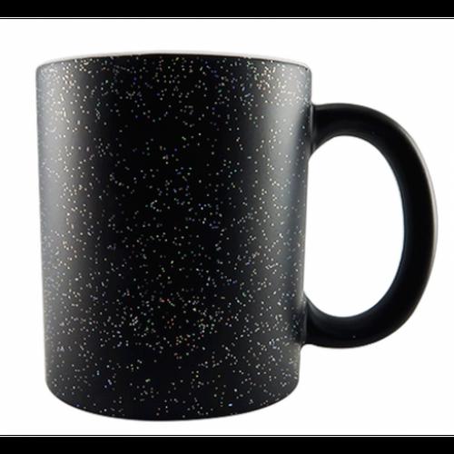Caneca Mágica Cerâmica para Sublimação - Preta Glitter Colorido