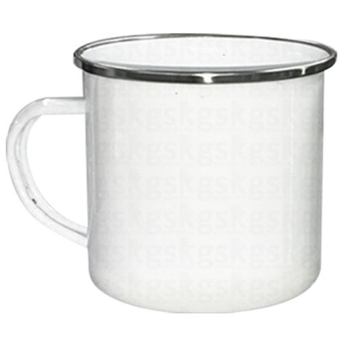 Caneca metal branca com borda prata ou preta