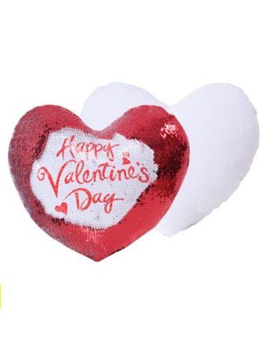 Capa de almofada coração lantejoula 39x44 branco/vermelho