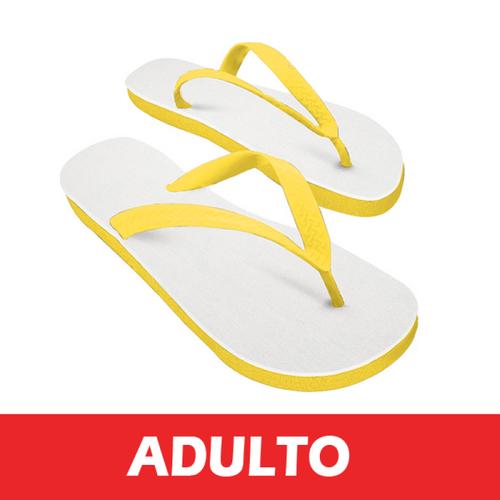 Chinelo Amarelo/Tecido Branco