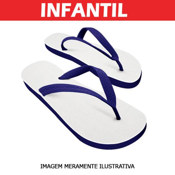 Chinelo Infantil Azul para Sublimação - Tecido Branco
