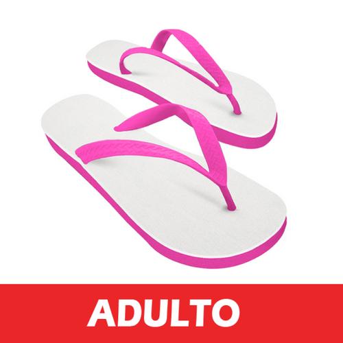 Chinelo Rosa/Tecido Branco